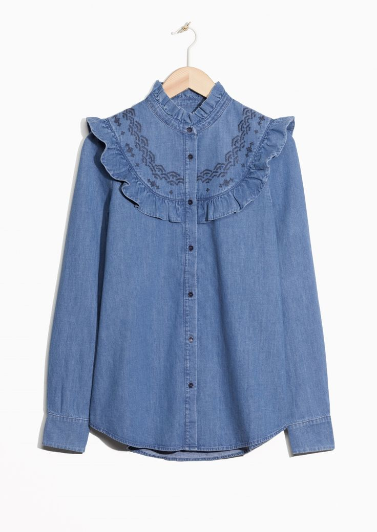 & Other Stories image 2 of Frilled Denim Blouse  in Blue Reddish