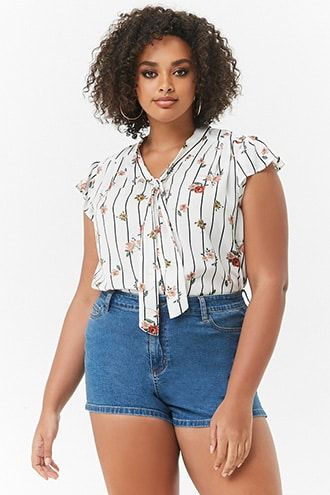ce5e65496ac Plus Size Pinstriped Floral Print Top
