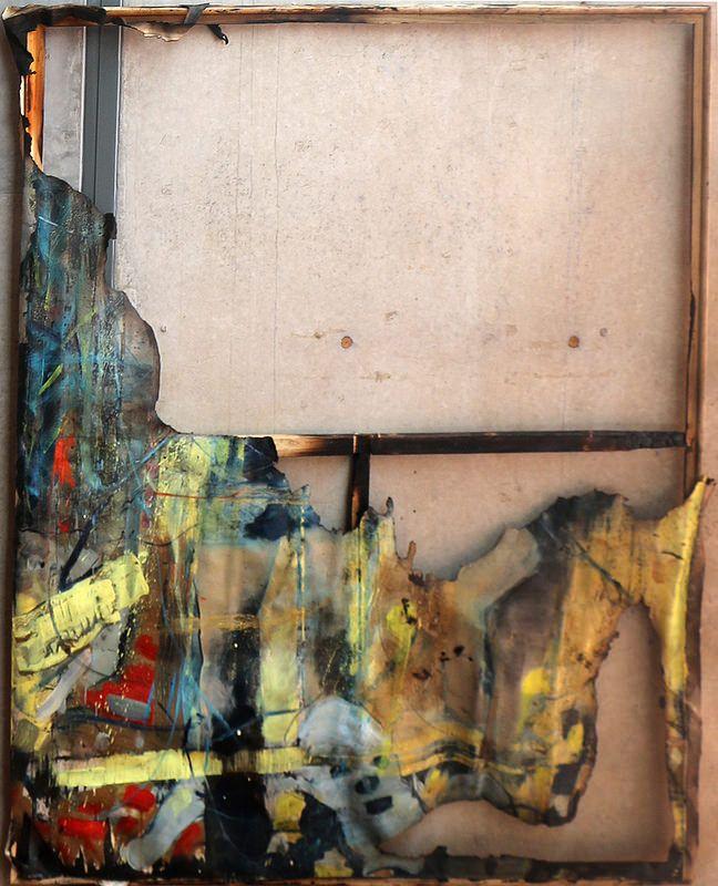 Ellos dos  Artista: Bartosz Beda, obra quemada por el artista, óleo sobre lienzo, 183x153 cm, 2014  Artist: Bartosz Beda , work burned by the artist , oil on canvas, 183x153 cm , 2014  #art #arte #contemporaryartwork #pintura #paint #bac #dibujo #drawing