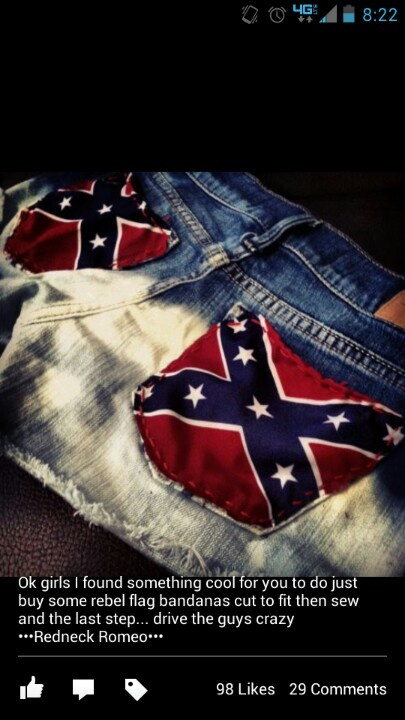 Wouldn't do confederate flags but the bandana idea is super cute and easy.