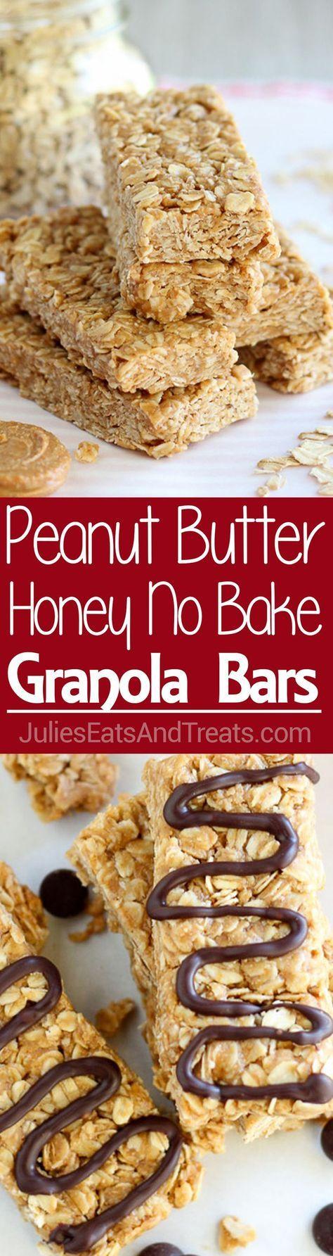 Peanut Butter Honey No Bake Granola Bars ~ Easy, No Bake Granola Bars are Flavored with Peanut Butter and Sweetened with Honey!…