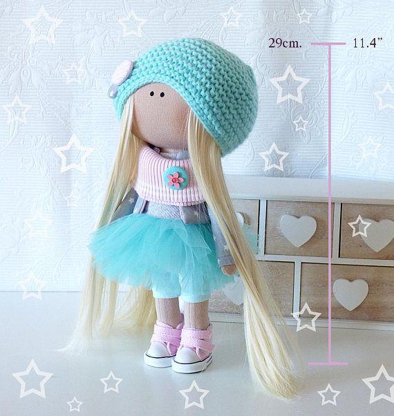 Тильда Текстильное искусство куклы только Интерьер куклы Девушка текстильной куклы