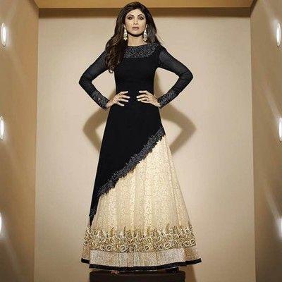 Black and Beige Designer Anarkali Suit