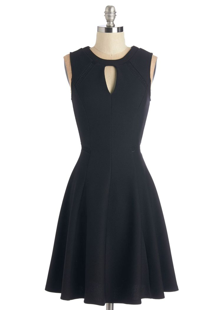 Moxie Must-Have Dress - Black, Solid, Cutout, Cocktail, Girls Night Out, LBD, A-line, Sleeveless, Mid-length, Embroidery, Wedding, Party, Sheer, Woven, Scoop