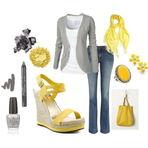 Gray and yellow: Shoes, Colors Combos, Fashion, Outfit Ideas, Style, Clothing, Colors Combinations, Grey Yellow, Dreams Closets