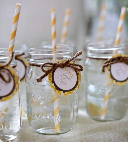 could use these as party favors and seating cards mason jar - Mason Jar Drinking Glasses