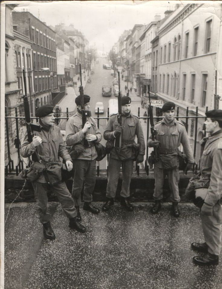 Me and mates. On duty in Londonderry on the city wall. The view behind us is called The Diamond and we are standing on part of the wall called (Derry Castle Gate) now Ferryquay Gate I am 3rd form the left