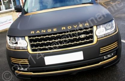 Range Rover Vogue fully wrapped in a matt black vinyl car wrap with mirror gold vinyl detailing by Totally Dynamic Norfolk