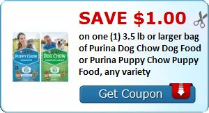 New Coupon!  Save $1.00 on one (1) 3.5 lb or larger bag of Purina Dog Chow Dog Food or Purina Puppy Chow Puppy Food, any variety - http://www.stacyssavings.com/new-coupon-save-1-00-on-one-1-3-5-lb-or-larger-bag-of-purina-dog-chow-dog-food-or-purina-puppy-chow-puppy-food-any-variety/