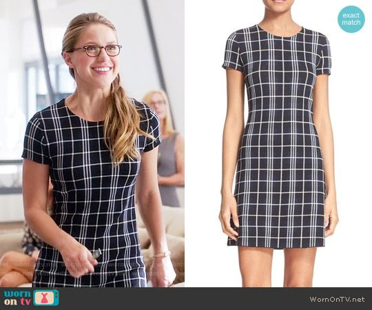 Kara's black plaid dress on Supergirl.  Outfit Details: https://wornontv.net/61222/ #Supergirl