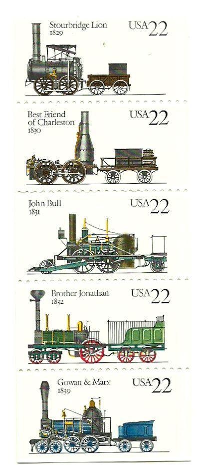 Trains postage stamps - USA