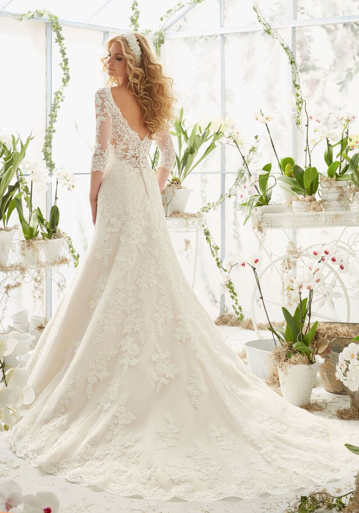 2812 Alencon Lace Wedding Dress Appliques on Net Frosted with Delicate Beading…