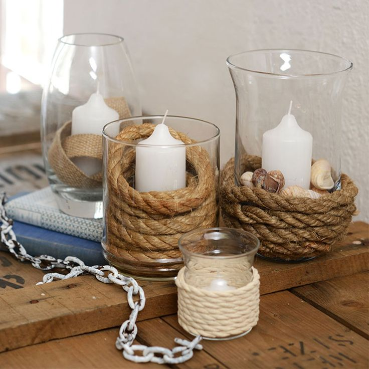 Memories of the seaside are worthy wrapping around rope candle vases.