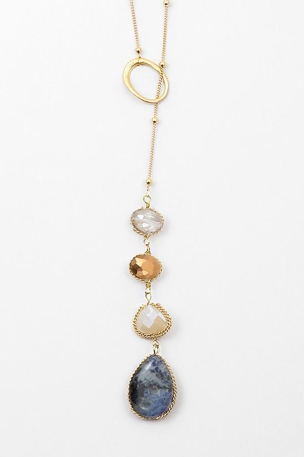 Sodalite Lariat Necklace | Women's Clothes, Casual Dresses, Fashion Earrings & Accessories | Emma Stine Limited
