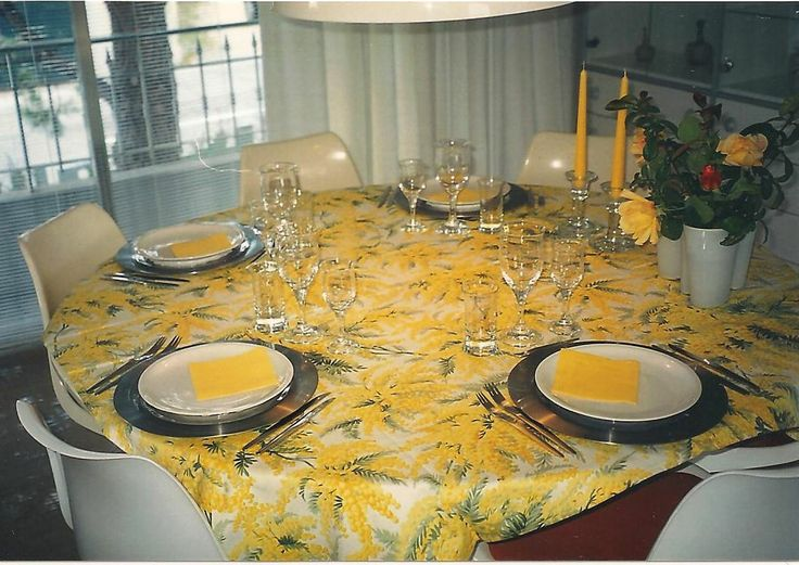Easter Tablescape in yellow, Danish design Steen Ostergaard, table Number 1 and chair 290. Table setting for spring