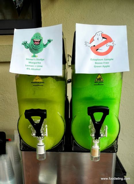 Ghostbusters Party - 30th birthday party idea  We renamed the slush to Slimer's Sludge and Ectoplasm Sample for a bit of fun