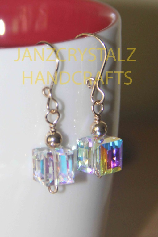 Swarovski Cube Earrings   Color: AB Crystals