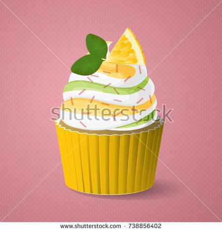 Lemon cupcake with vanilla cream and mint