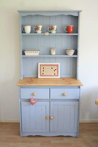 Shabby Chic Rustic Pine Farmhouse Welsh Dresser Storage Display Cabinet