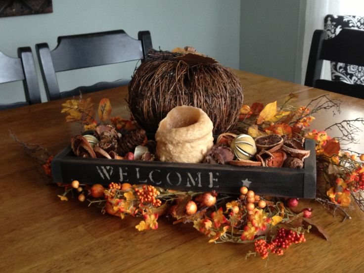 Fall decor primitive rustic candle modern vintage for Modern fall table decorations