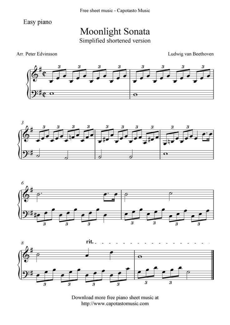 Piano Sheet Music for Beginners | Free Sheet Music Scores: Free easy piano sheet music, Moonlight Sonata ...
