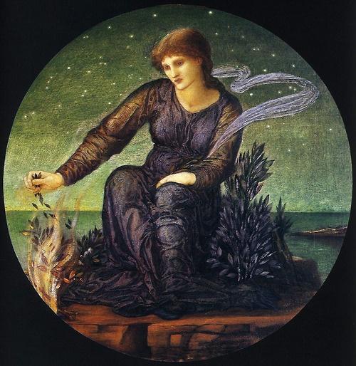 Sir Edward Burne-Jones, Hero Lighting the Beacon for Leander, 1875-77