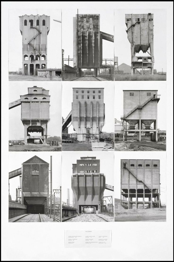 gallowhill:  Coal Bunkers, 1974 by Bernd Becher and Hilla Becher  Husband and wife team Bernd and Hilla Becher began photographing old industrial sites in the 1950s, and described their subjects as 'buildings where anonymity is accepted to be the style'. (…) Within a few years of completing this work, almost all of the structures had been demolished.