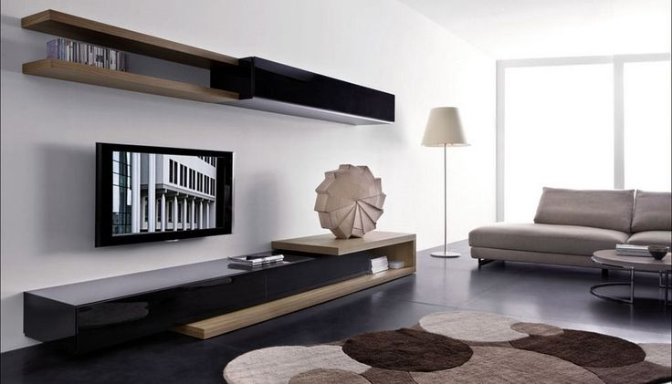 Modern Living Room Wall Mounted Cabinet and TV Stand, Sistema People by Pianca contemporary wall mounted shelving system combination with wall mount TV units – Home Design Inspiration