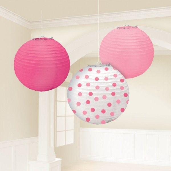 Set lanterne rosa, fucsia e pois