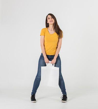 Bolsa blanca con asa corta #tnt #tejidonotejido #tst #bolsastela
