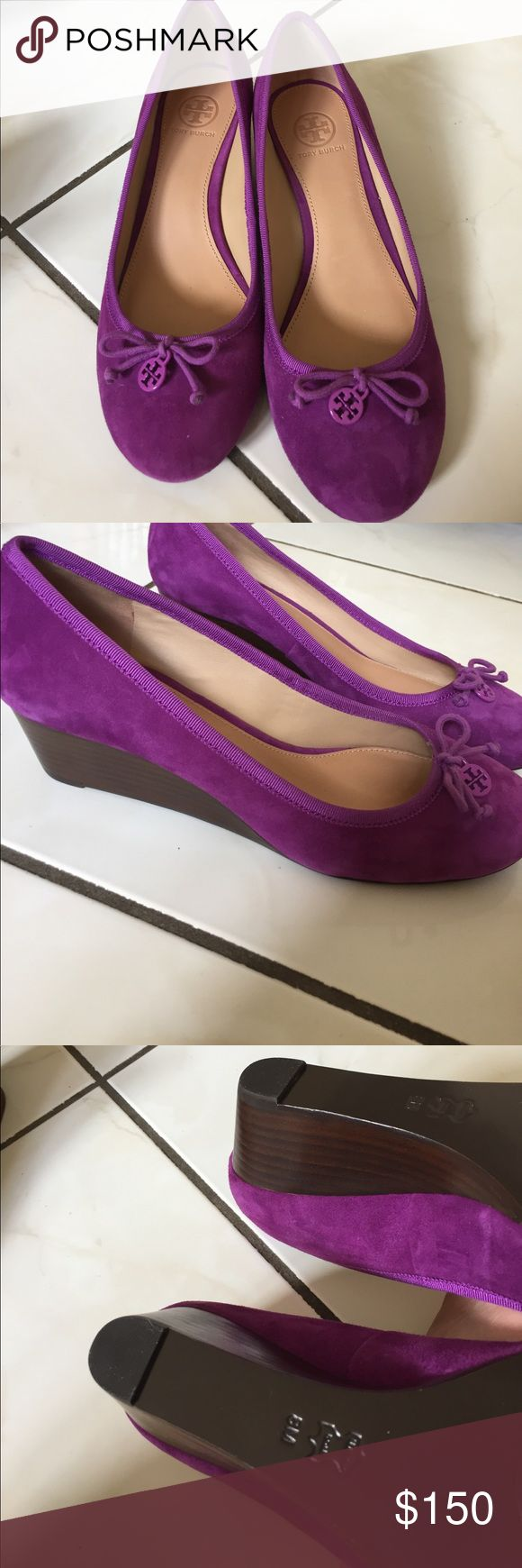 New Tory burch purple wedges Super cute and needs a new home! New shoes! Tory Burch Shoes
