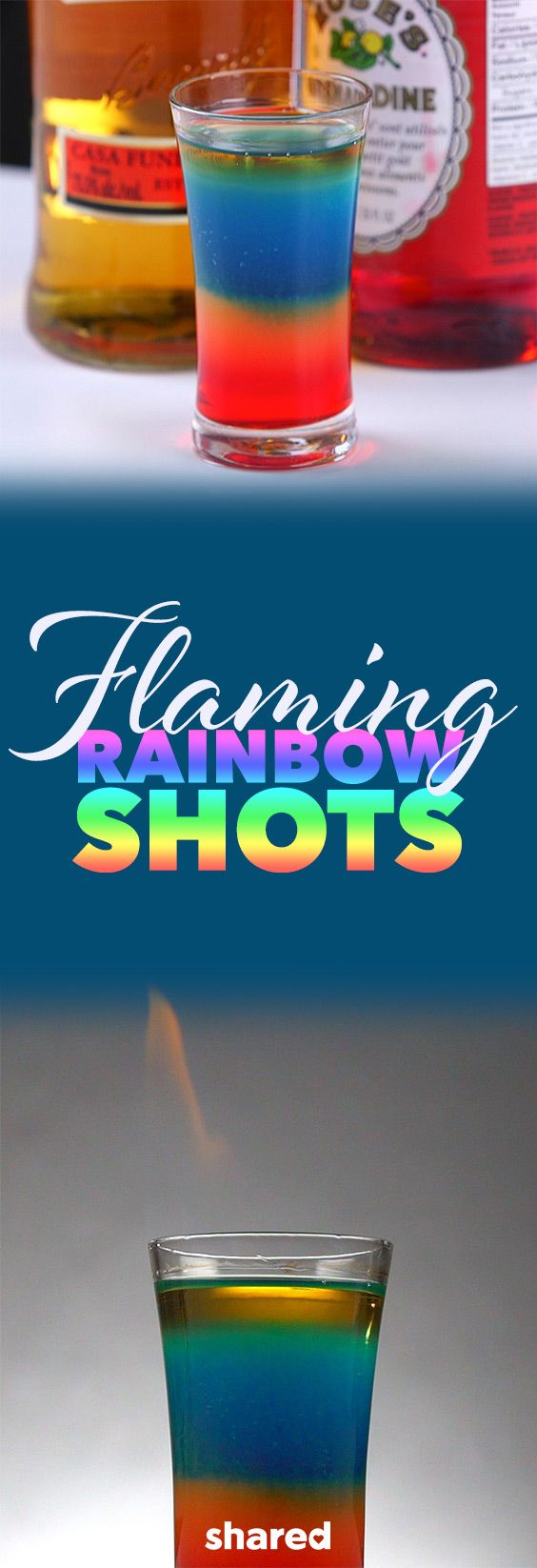 Flaming Rainbow Shots - If you like living life on the wild side, you'll love this shot! The Flaming Rainbow Shot is beautifully made with cool differently colored layers, and finally a flame tops it all off! It's really rather easy to make this shot at home with just a few yummy ingredients. Use caution when it comes to the flame, and you'll soon be drinking the coolest shots you ever made!