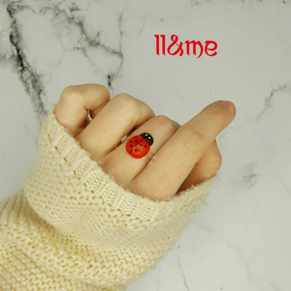 Wooden lady bug adjustable ring forest bugs insect spring
