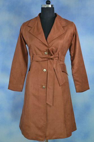 Brown Overcoat, Velvet feel over coat, Warm check lining underneath, Front open.