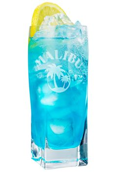 MALIBU Mali-Blue ADD A HINT OF COLOUR TO YOUR NIGHT WITH THIS BLUE BEAUTY.  DRINK INGREDIENTS:  50ml Malibu  5ml Blue Curacao  Lemonade    HOW TO MIX THE DRINK:  Pour all the ingredients over cubed ice in a highball glass. Stir to mix & garnish with a lemon.