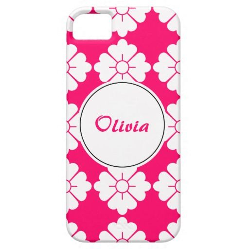 Personalizable floral pattern phone cases - Personalize by adding your own name. The design (in white) is tileable (you can scale it up or down to customize it). The background (in fuschia in the preview) can be changed to any color you like. If you don't like to personalize (you want only the pattern), you can remove the border/frame and text.