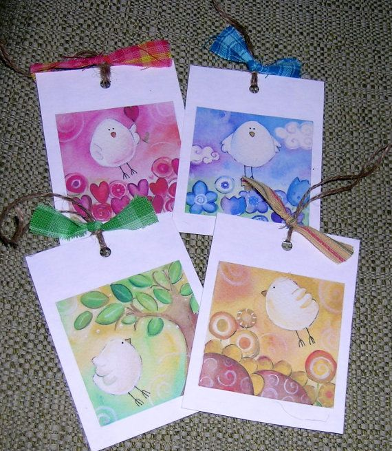SALE set of 4 gift tags with print of watercolors by elisatta