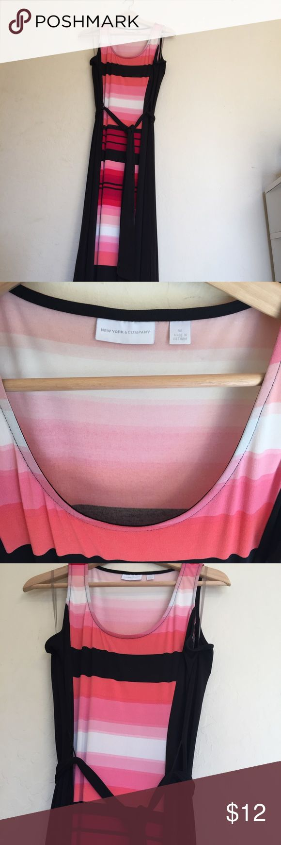 Maxi dress with tie belt Long black with pink blocking maxi dress. With two side slits and tie belt, very flattering. Stretchy 95% polyester 5% spandex NY&Co Dresses Maxi
