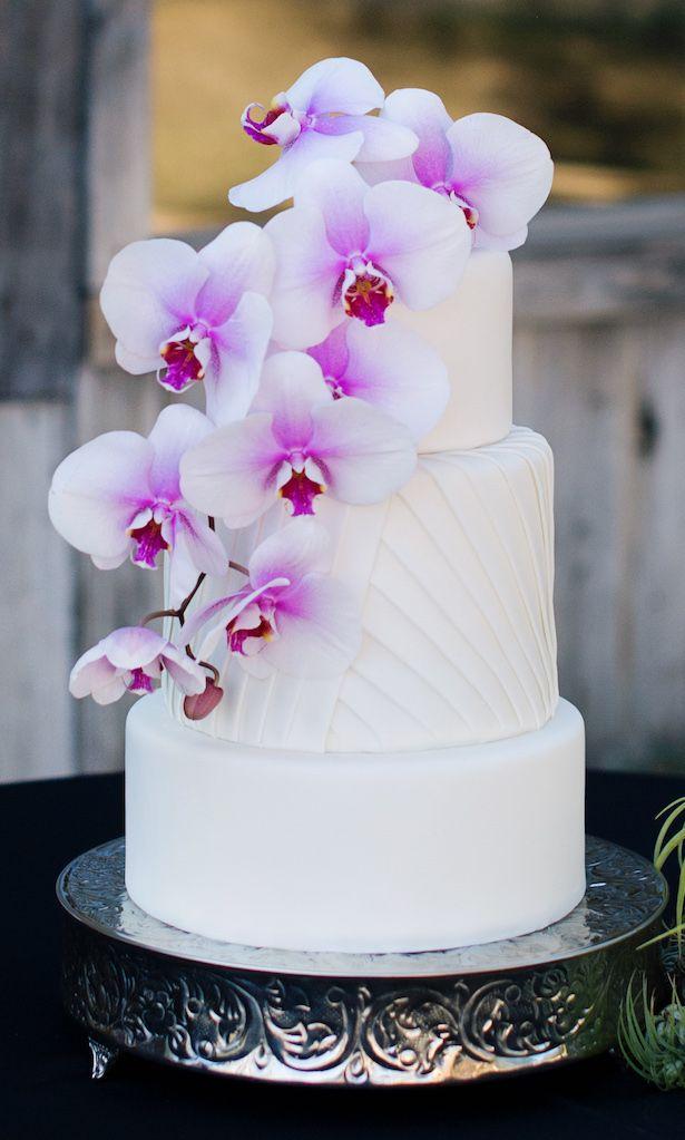 Orchid Wedding Cake - Jenna Leigh Wedding Photography