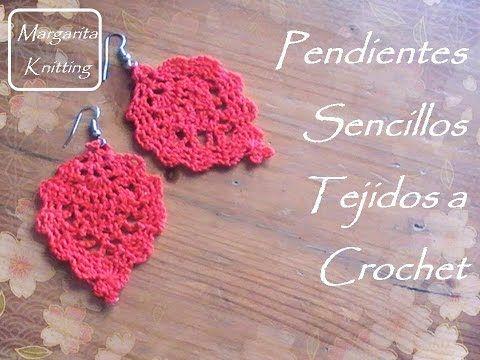 Pendientes sencillos tejidos a crochet (diestro) - YouTube