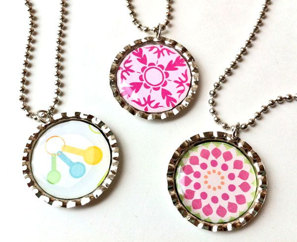 a quick easy way to make bottle cap pendants without the