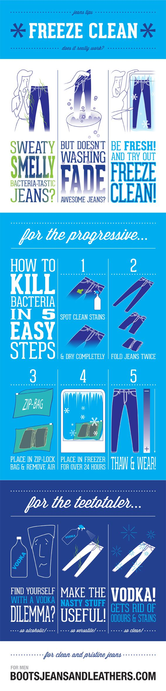 Freezing Your Jeans #Freezing #jeans #Clothing #infographics