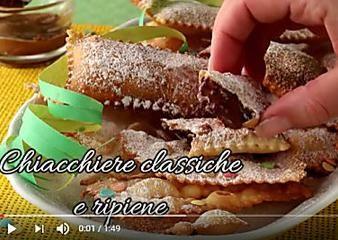 Chiacchiere classiche o ripiene video ricetta friabile