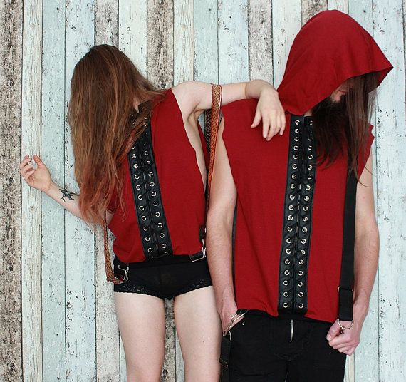A handcrafted mens tank top with a huge hood, lacing and suspenders. One of a kind. The only one in the world like it. As unique as you!!! Made from BIO cotton and eco leather.  Chest: 90 - 118 cm (35 - 46) Lenght: 72 cm (28)  FREE SHIPPING WORLDWIDE