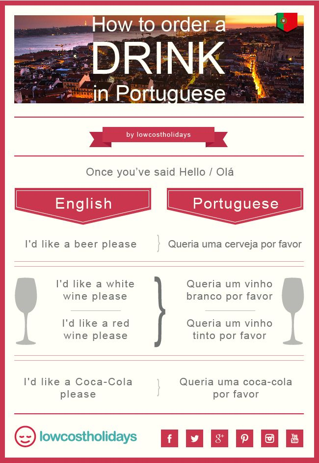 Off on holiday to #Portugal? Or maybe even #Brazil? Make ordering a drink easier with our language tips!