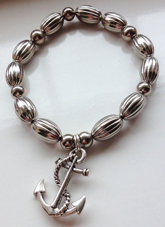 All at sea ... Silver Anchor Charm Stacking Bracelet by ElizaSophieDesigns