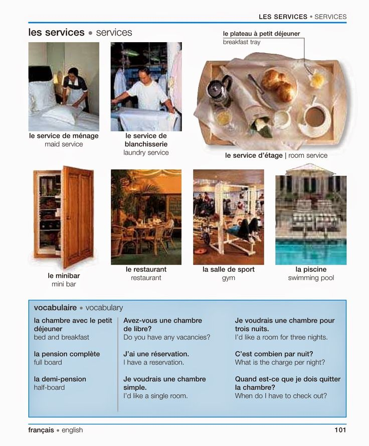 """Vocabulaire: """"Les services [à l'hôtel]"""" - Vocabulary: """"[Hotel] Services, from a French-English Visual Dictionary 
