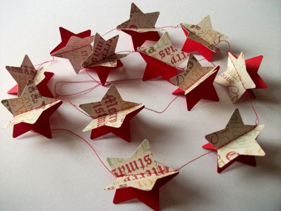 Red 3d christmas star paper garland.  party  home by LondonSparkle
