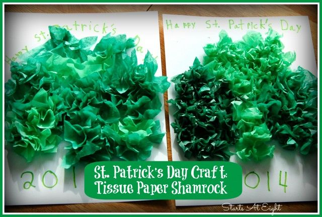 St. Patrick's Day Craft ~ Tissue Paper Shamrock with free printable shamrock template.
