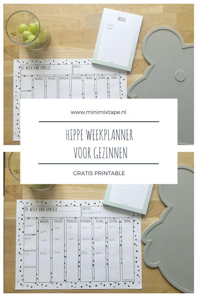 gratis monochrome printable weekplanner voor gezinnen